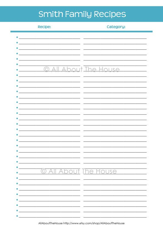 Recipe Binder - Personalised - Printable Recipe Sheets- Recipe Page
