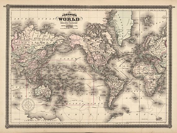 World Map Vintage Map Print Antique Map Old Prints Map Wall Art Old