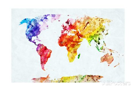Watercolor World Map Colorful Paint On White Paper HD Quality - High quality world map poster
