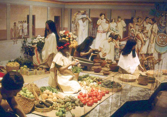 The great market of Tlatelolco was a huge trading hub for the Aztec merchant class, also known as the pochteca.