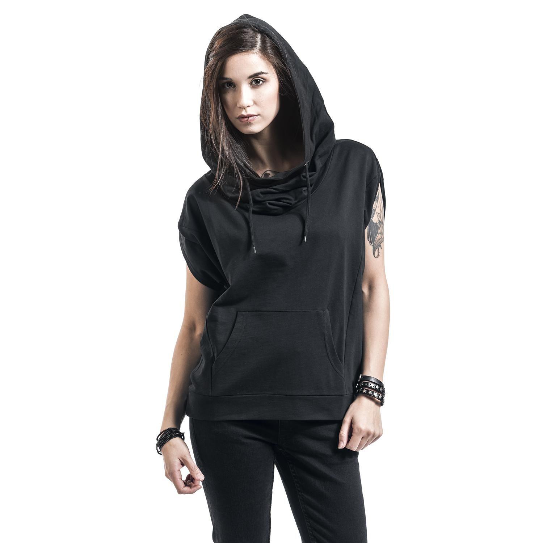 T Shirt Ladies Sleeveless Terry High Neck Hoody Von Urban Classics Kanguru Tasche Kapuze Mit Zugbandern Farblich Modestil Kleidung Schwarzes T Shirt