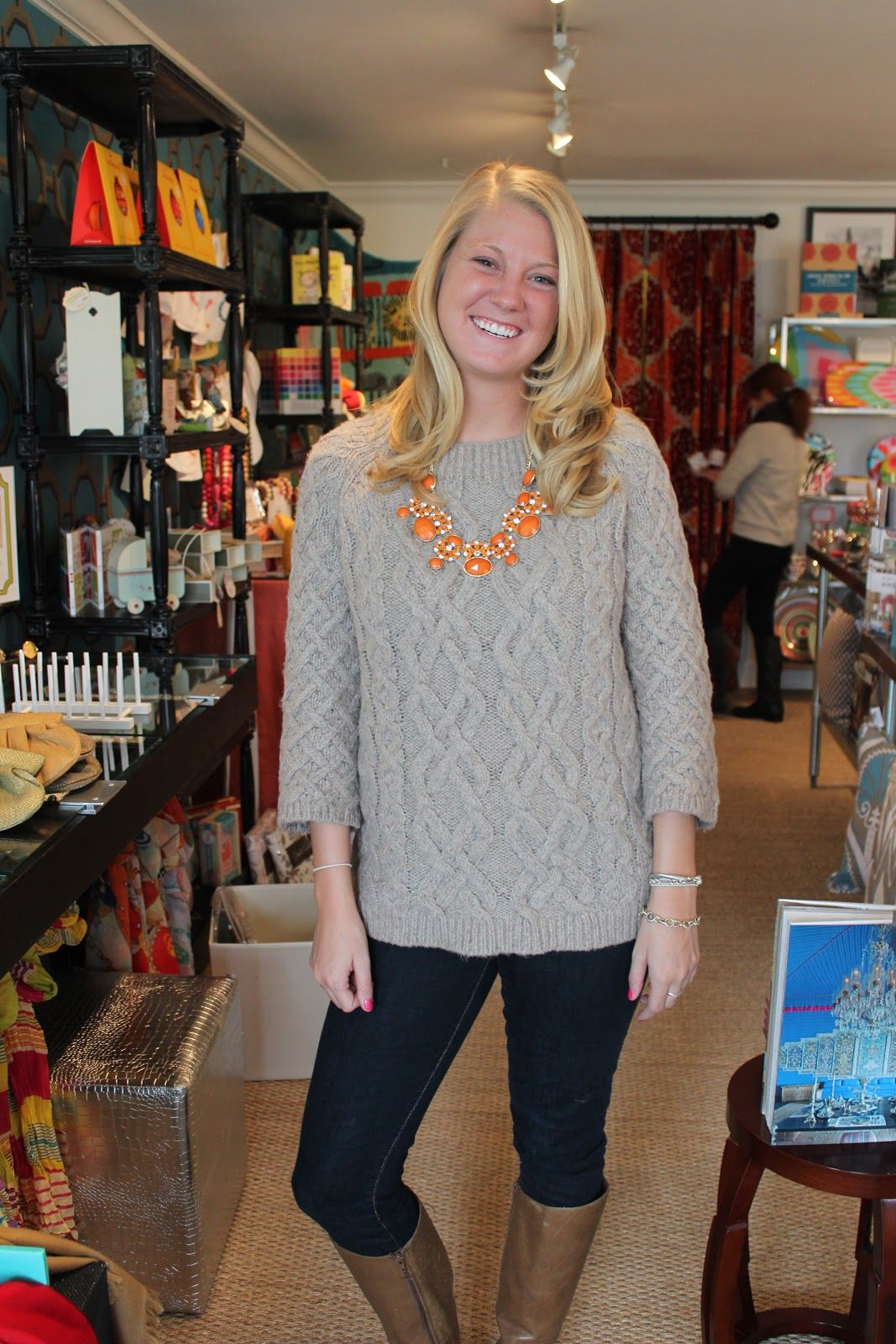 Baggy sweater and statement necklace