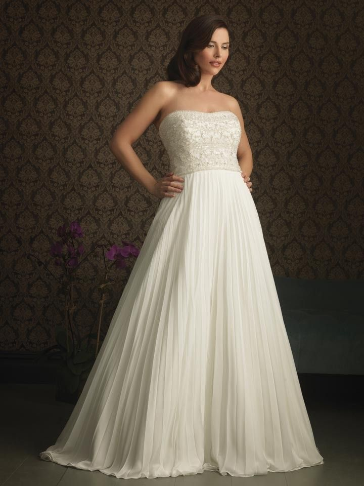 Ivory chiffon strapless fully beaded bodice a line for Fully beaded wedding dresses