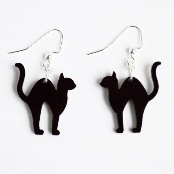 laser cut acrylic black scaredy cat charm pendant earrings halloween jewelry your choice of color