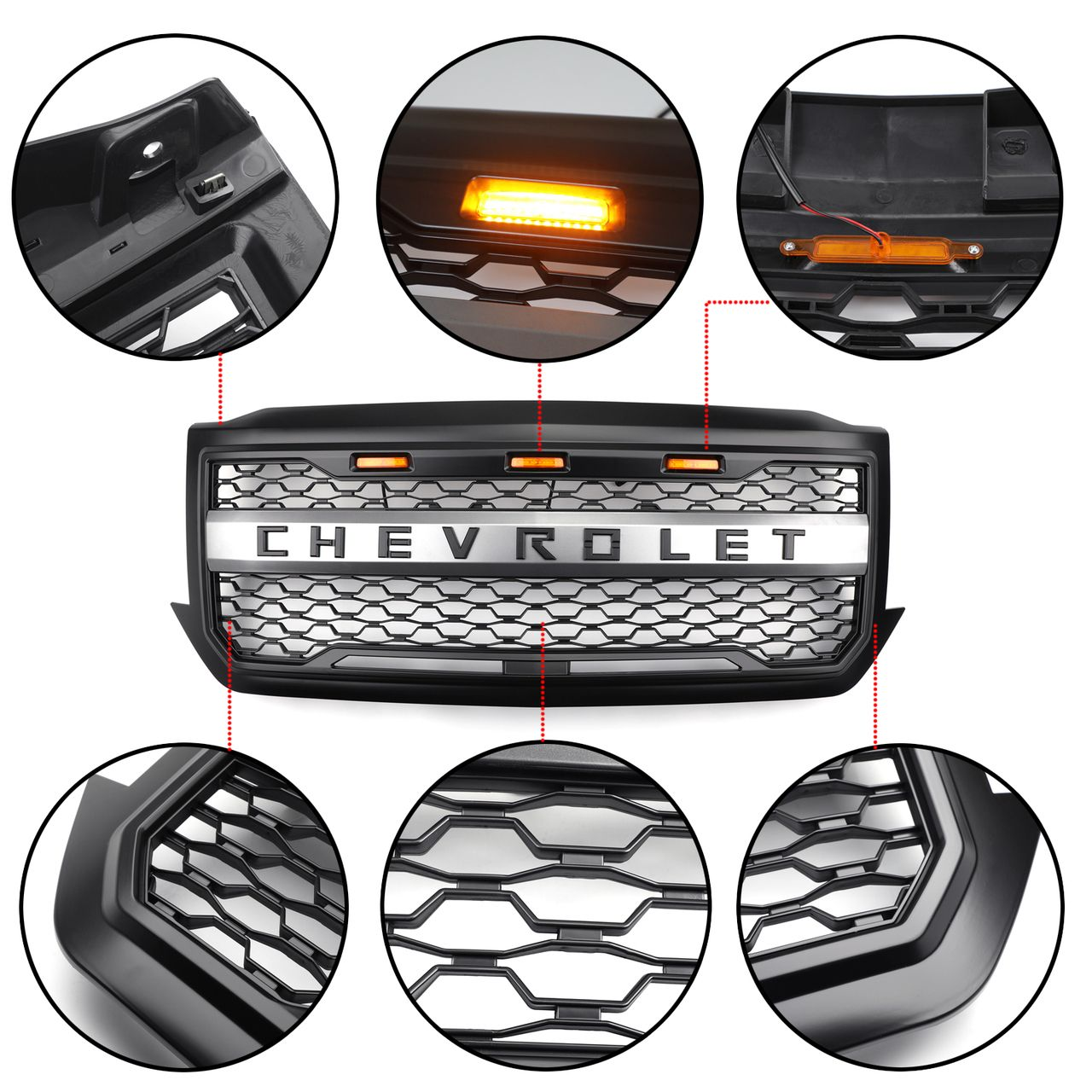 Led Front Grille For Chevrolet Silverado 1500 2016 2017 2018 Black Chevy Silverado Accessories Chevrolet Silverado Silverado Accessories