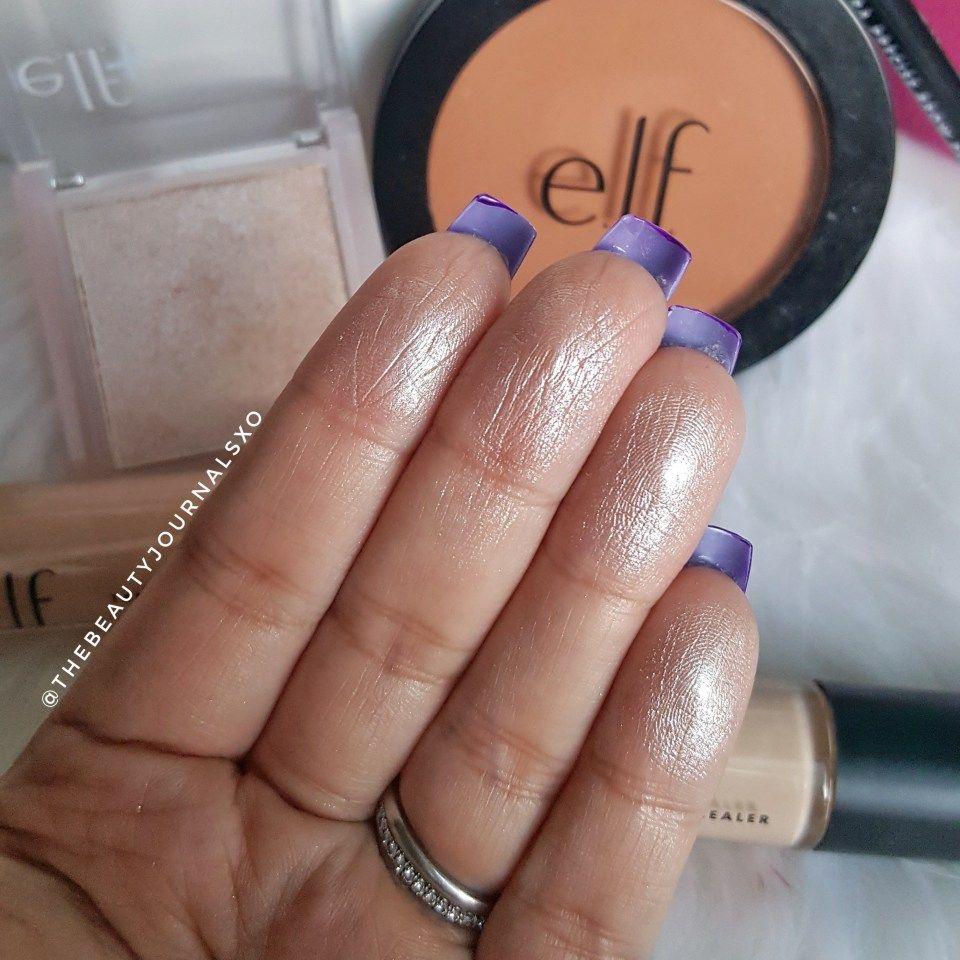ELF Glow Highlighter Swatches in Moonlight ELF Makeup
