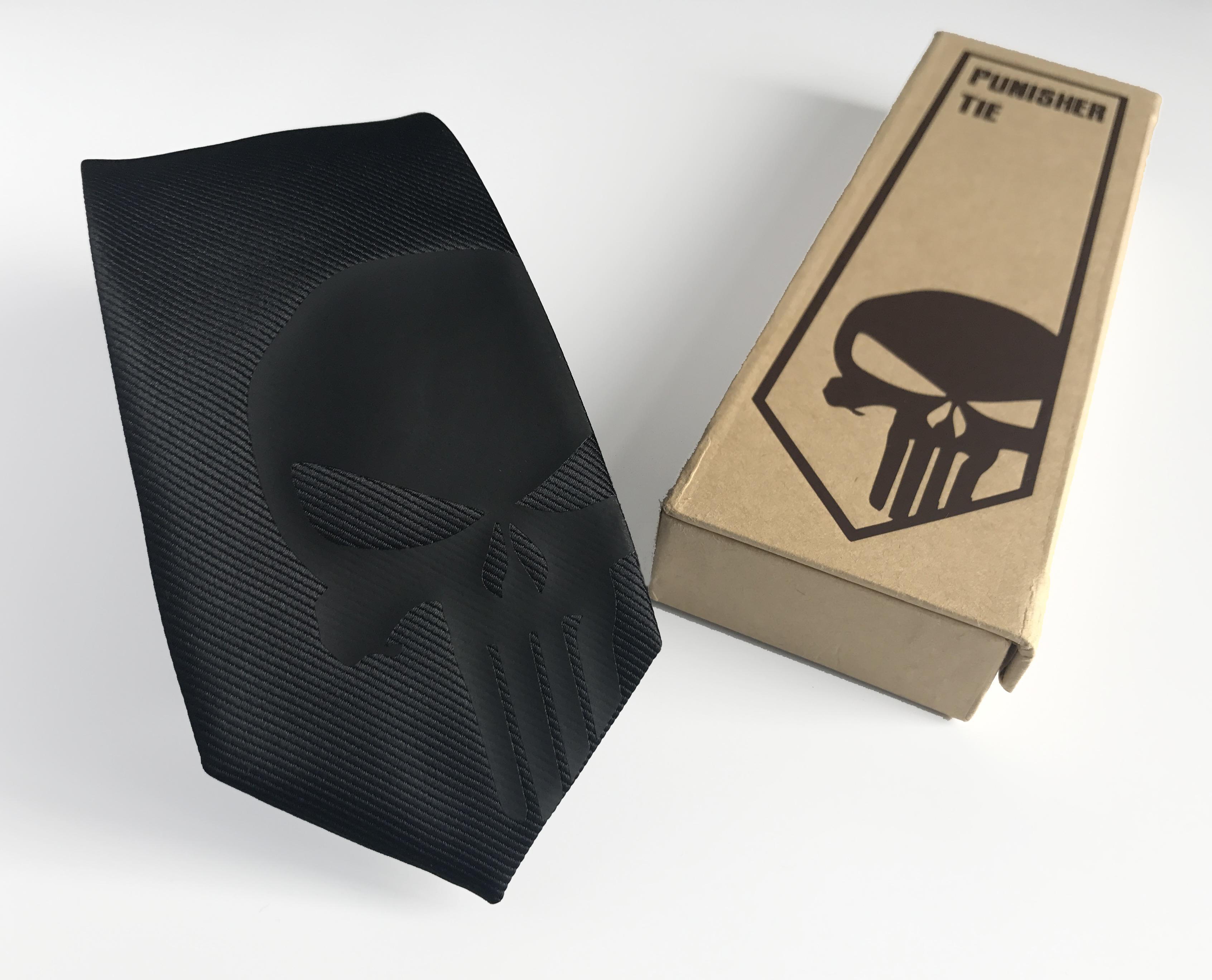 Punisher Silk Tie Black Edition  Slim Tie  Wedding