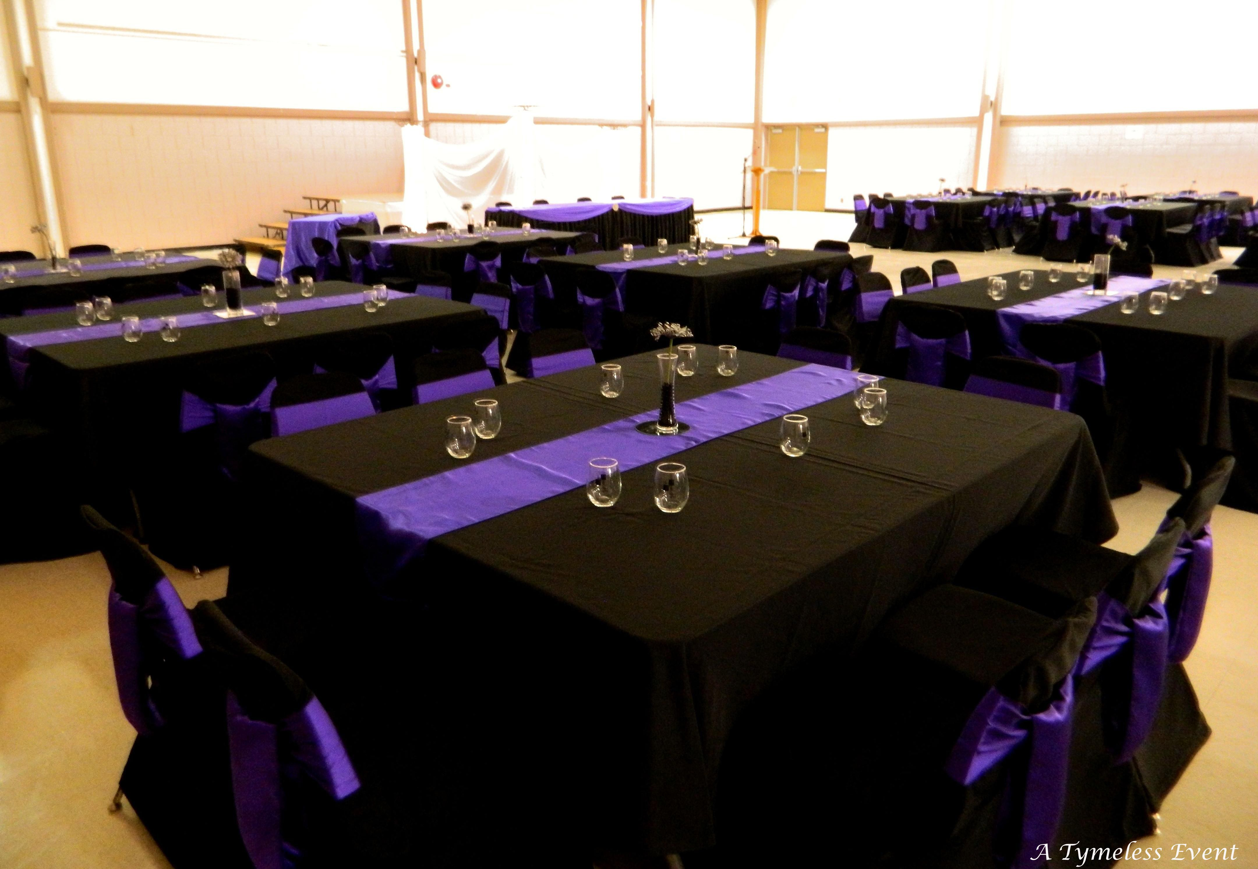 Black And Purple Table Cloth | Black Tablecloths With Purple Satin Runners