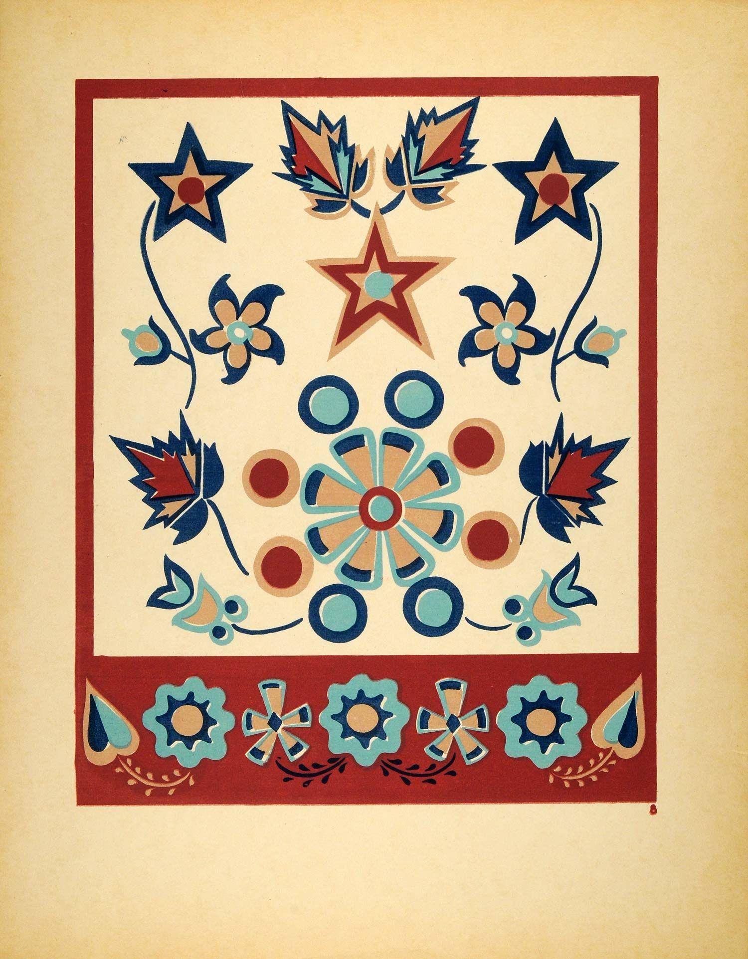 1948 Original Serigraph Menominee Indian Dance Floral Star Design