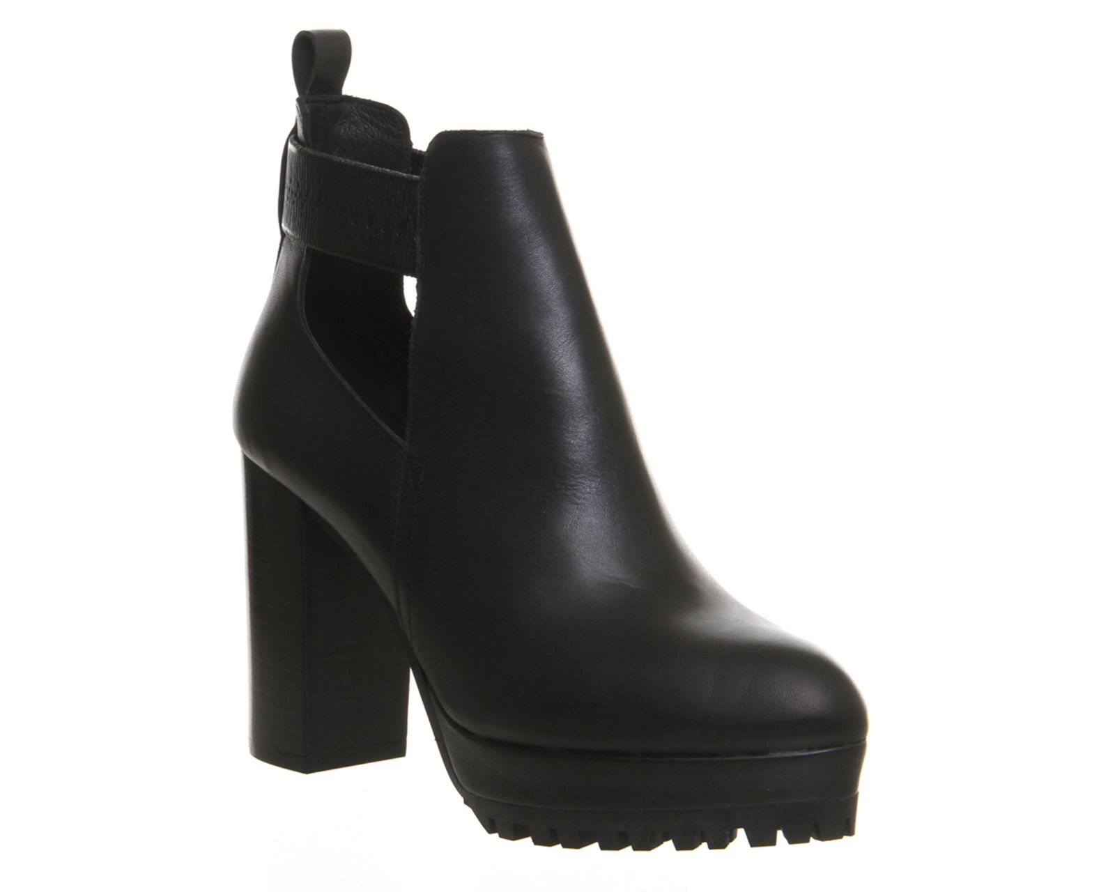 Office Frolic Cut Out Cleated Shoe Boots Black Leather Ankle