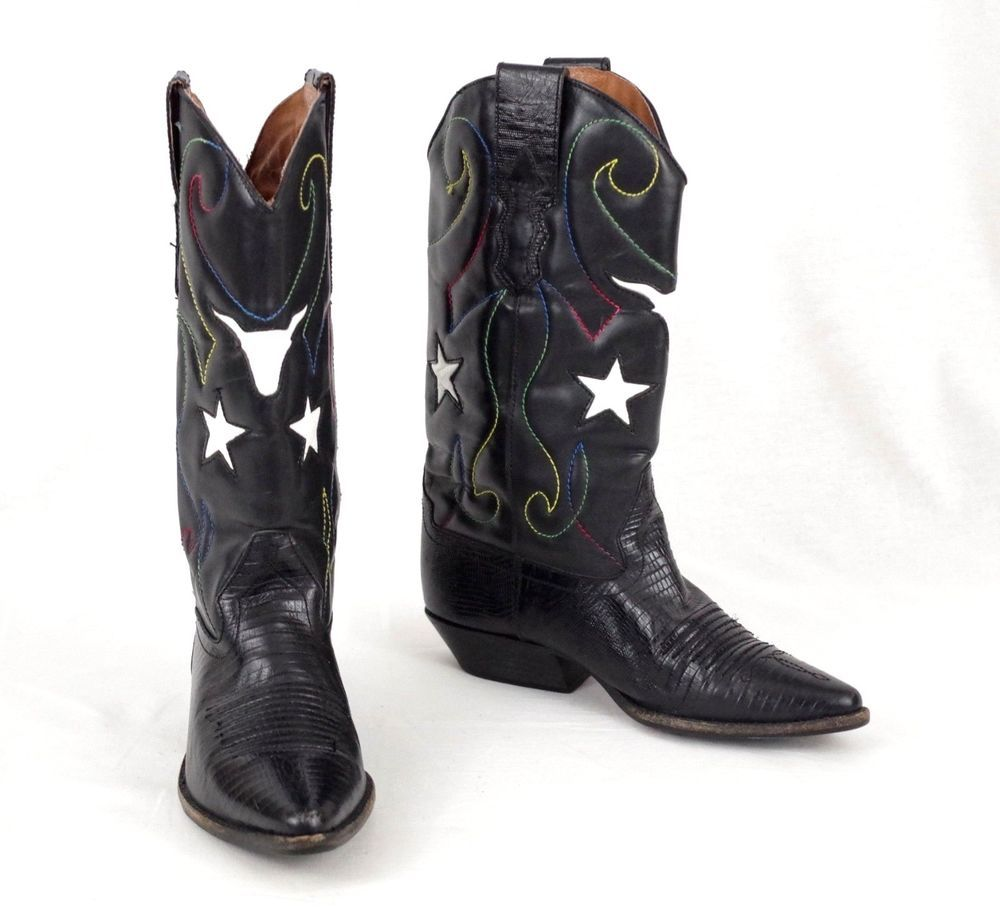 Nine West Cowboy Western Boots Womens Black Leather Peggy Sue Stars