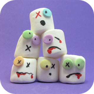 Zombie Marshmellows. Add a cakepop stick for that special halloween party. Cute/fun treat for the candy buffet.