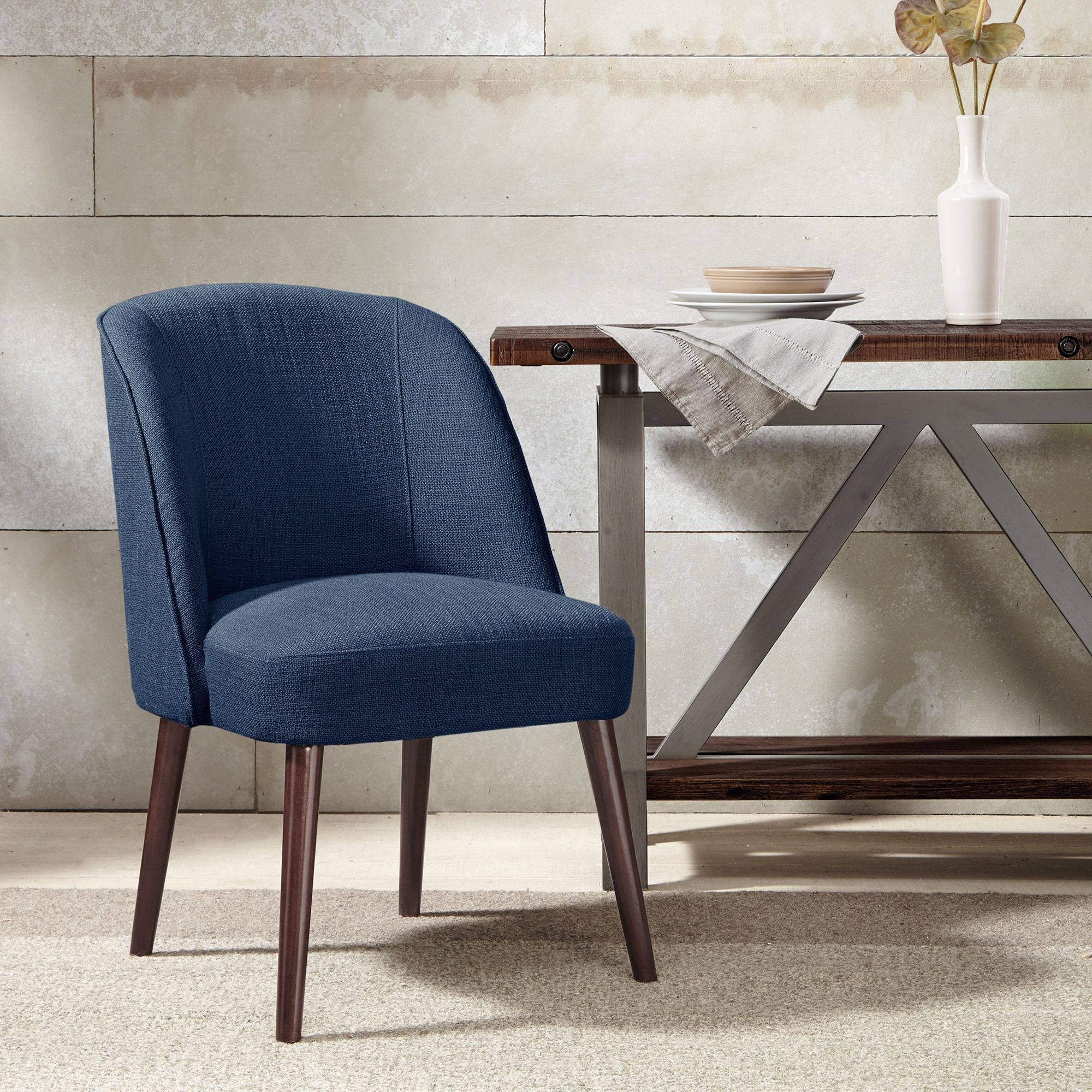 Madison Park Larkin Blue Rounded Back Dining Chair