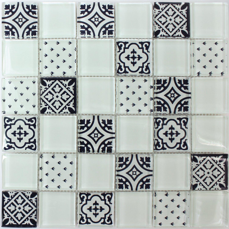 Mosaikfliesen Weiß mosaikfliesen glas barock ornament weiss amazon de baumarkt