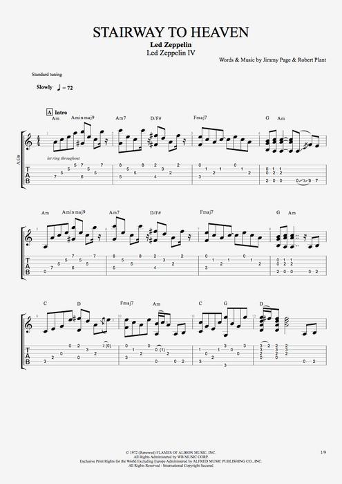 Stairway to Heaven - Led Zeppelin tablature : Tablaturas : Pinterest : Tablature, Zeppelin and ...