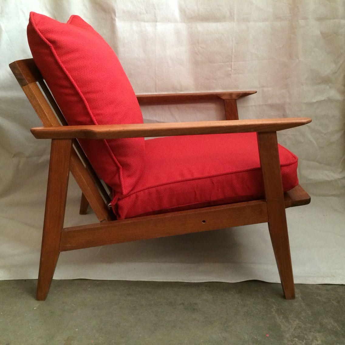 Vintage mid century modern Danish style slant back sitting chair