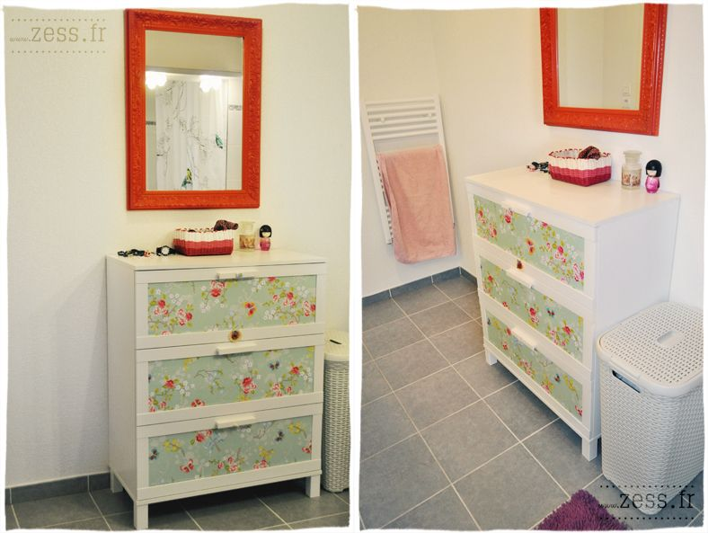 diy customiser une commode avec du papier peint armoires vintage r tro et commodes. Black Bedroom Furniture Sets. Home Design Ideas