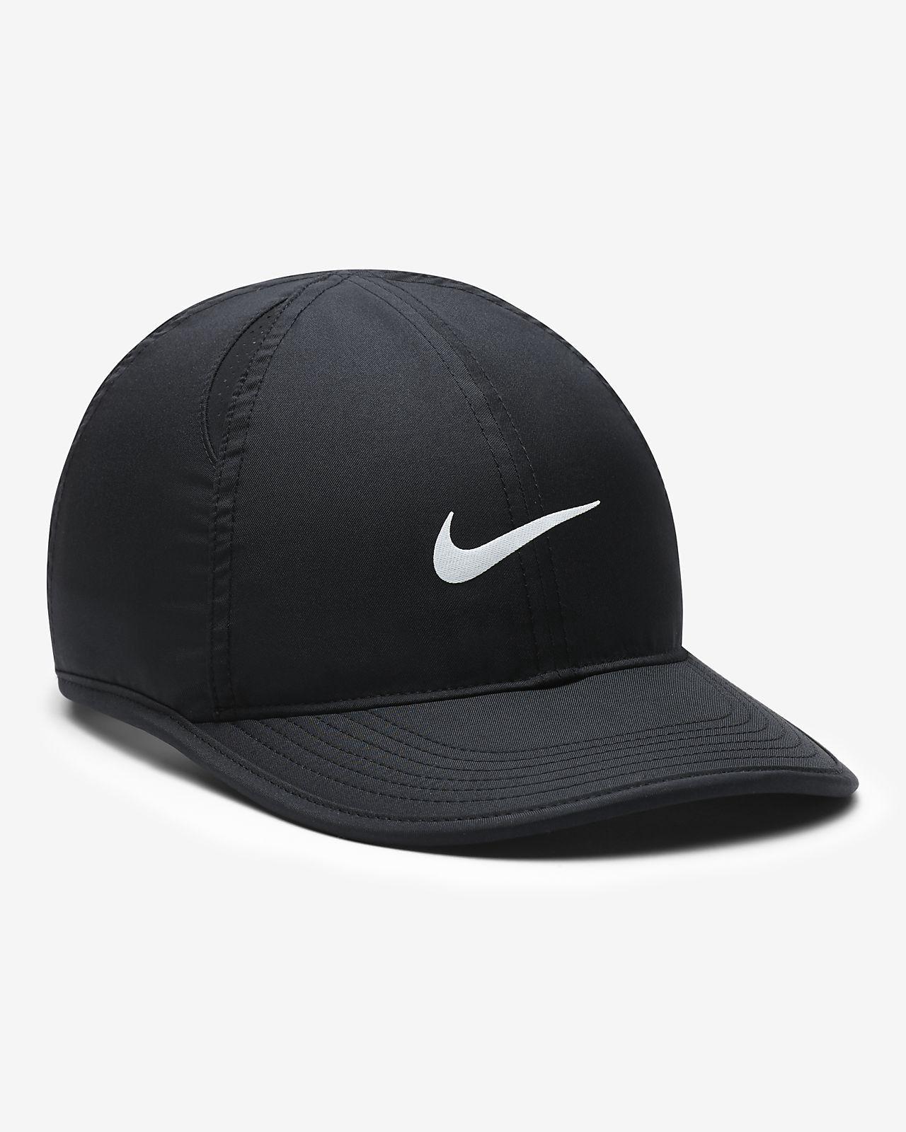 2ad575e5499 Nike Featherlight Big Kids  Adjustable Hat - Black Black White Os ...
