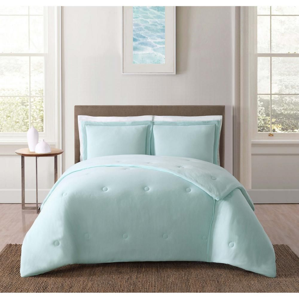 Truly Soft Everyday 3 Piece Aqua Full Queen Comforter Set