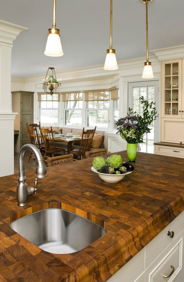 Fantastic Thick End Grain Butcher Block Island Countertop