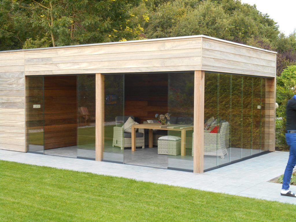 Een tuinhuis met een plat dak oogt strak en modern en kan