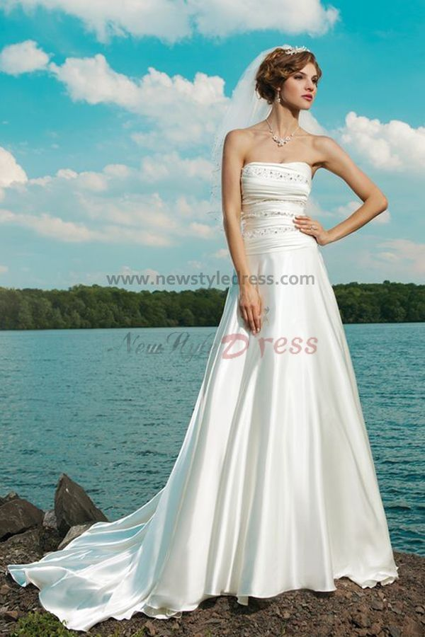 a line Beach Strapless Court Train Hot Sale wedding dresses nw-0232 ...