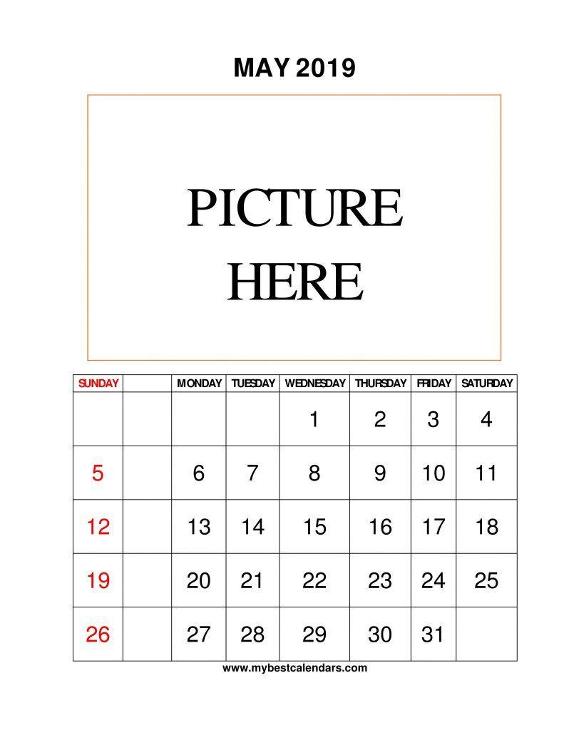 Print Monthly Blank Calendar May 2019 Printable Template ...