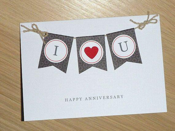 Happy anniversary card with bunting handmade husband wife