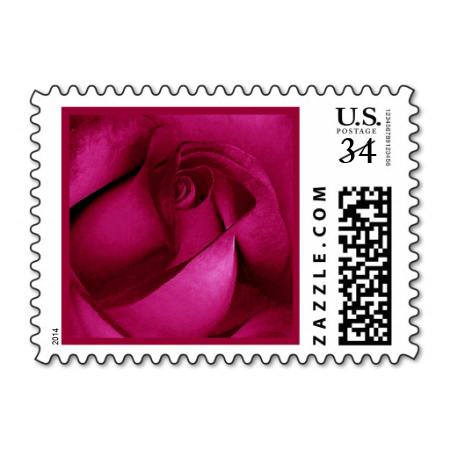 Elegant Red Wedding Rose G232 Postage Stamp Stamps Love Marriage