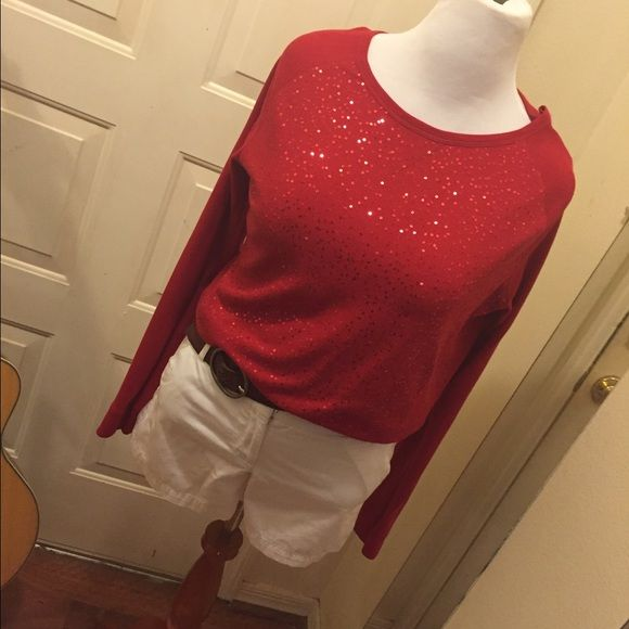 Hot cherry red gently with sequins plus size NWOT cherry red pretty with sequins on front ... Long sleeve pullover style, reads 2x fits like 1x Aeropostale Tops Tees - Long Sleeve