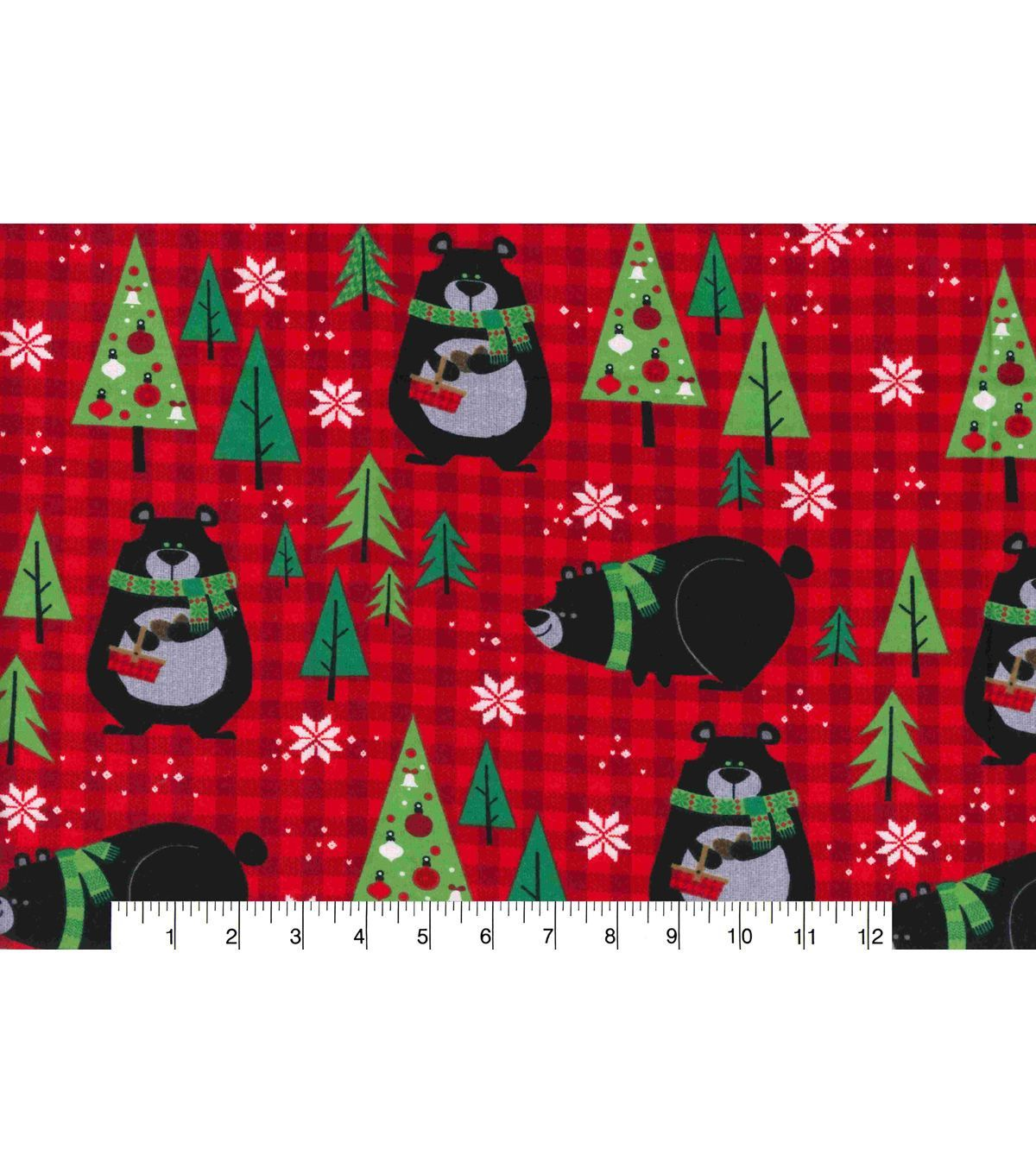christmas fleece fabric northwoods bears on plaid red fln