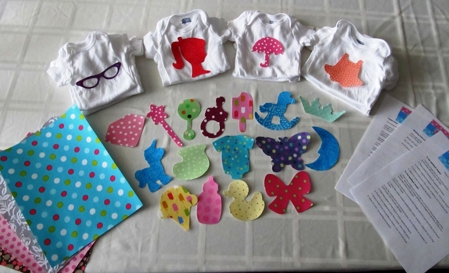 Amazing DIY Baby Girl Onesie Kit   Baby Shower Craft Including Onesies, Iron On  Appliques