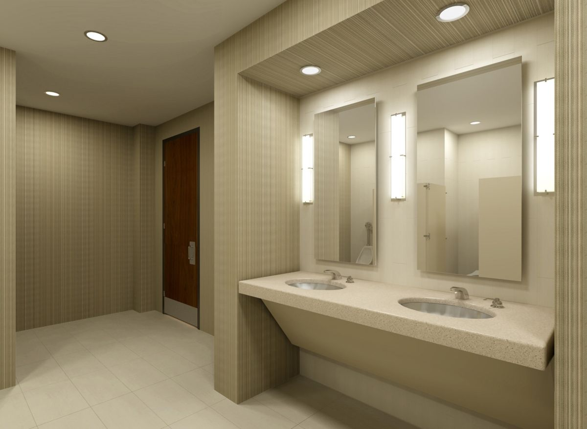 Commercial bathrooms design commercial bathroom 3d set for Industrial bathroom ideas