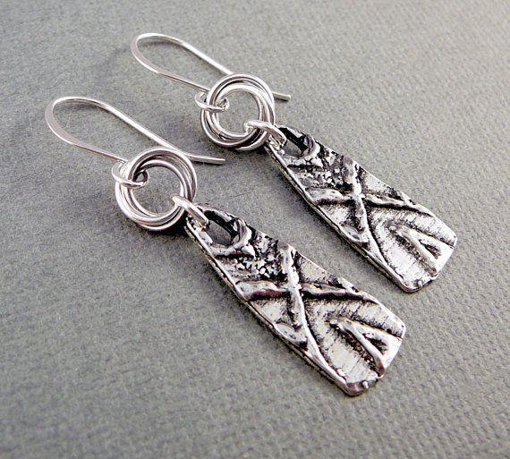 Nickel Free Earrings Silver Dangle Pewter Unusual Drop