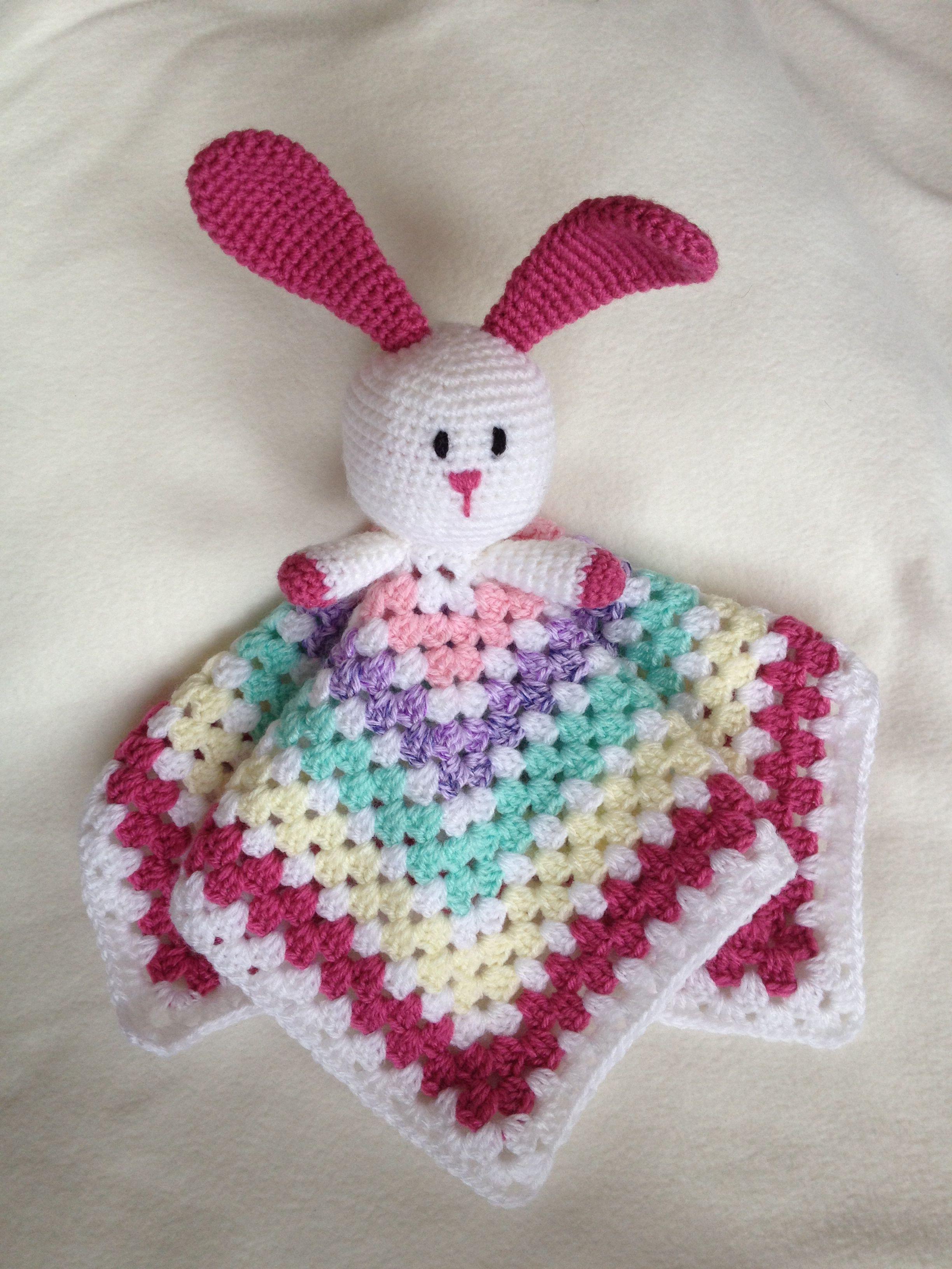 Handmade Rabbit Crochet Baby Comforter Security Blanket