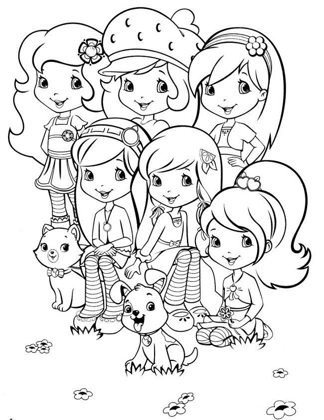 Strawberry Shortcake Princess Coloring Page Buku Mewarnai Lembar Mewarnai Ilustrasi Lucu