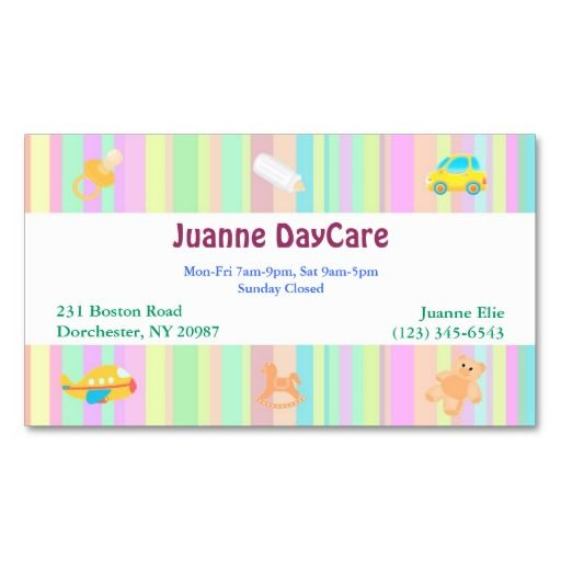 Daycare Business Card Zazzle Com In 2021 Childcare Business Cards Card Template Business Card Template