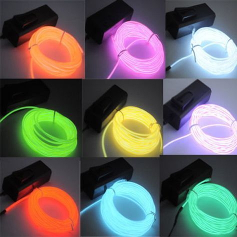5M 16ft Flexible EL Wire Neon LED Light Rope Party Car Decorate