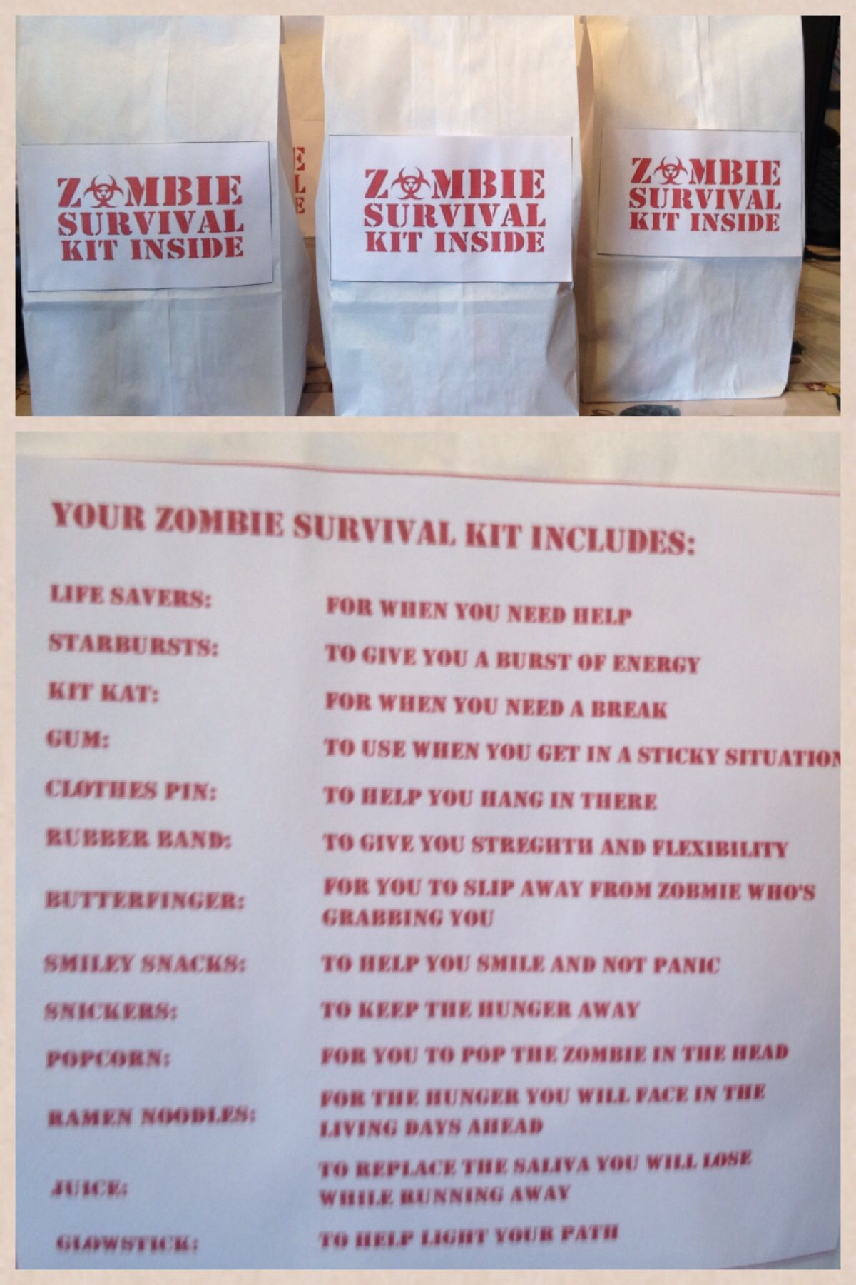 zombie survival kit goodie bag for kids party i purchased white
