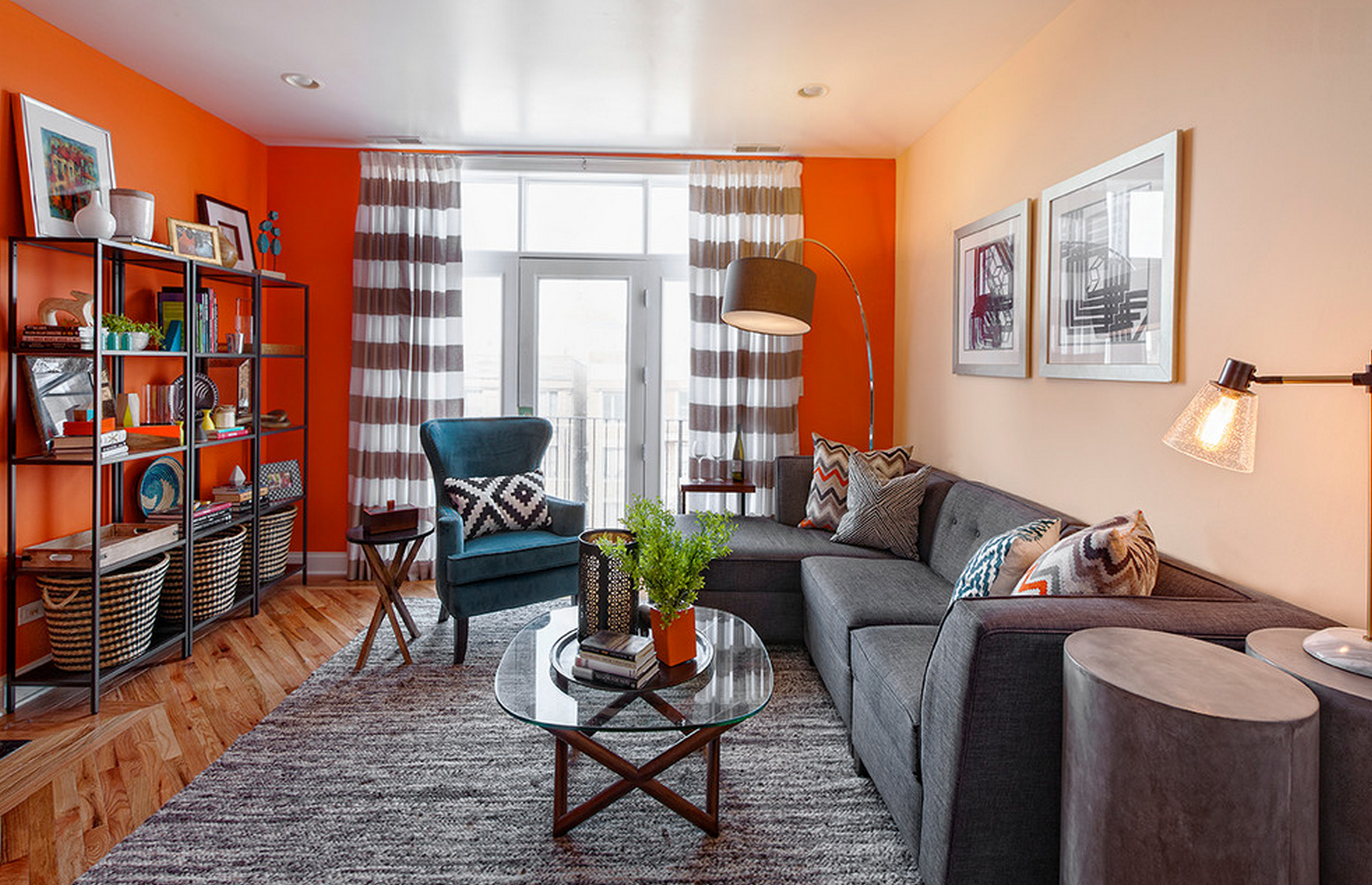 Living room design orange walls orange pillows teal orange gray walls burnt