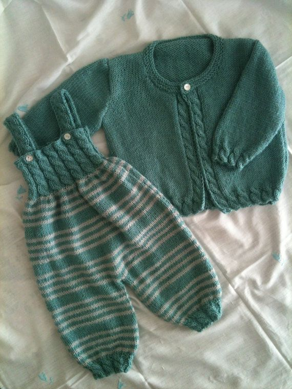 A Ravelry pattern. Baby Ligt Green,Ligt Grey Line Hand knitted Overalls  with detailed cabled bodice and Sweater