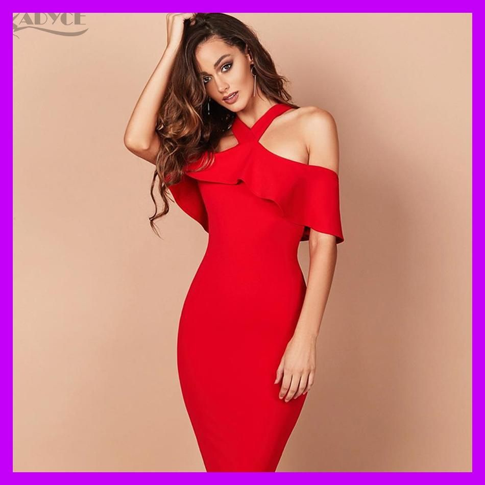 Adyce 2018 Hot Sale Winter Party Dress Red Black White Ruffles Patchwork  Off the Shoulder Vestidos 124b26886b66