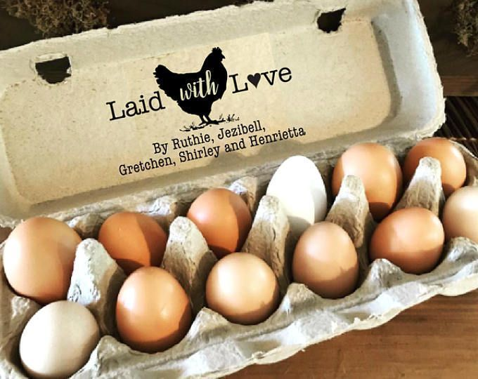 Chicken Egg Carton Stamp - Laid With Love Carton - Chicken Coop Sign - Custom Egg Cartons - Chicken Name Stamp - Backyard Chicken Stamper