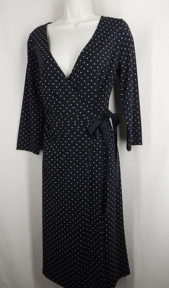 ANN TAYLOR LOFT Size 8 Black Beige Polka Dot Wrap Dress #AnnTaylorLOFT #WrapDress