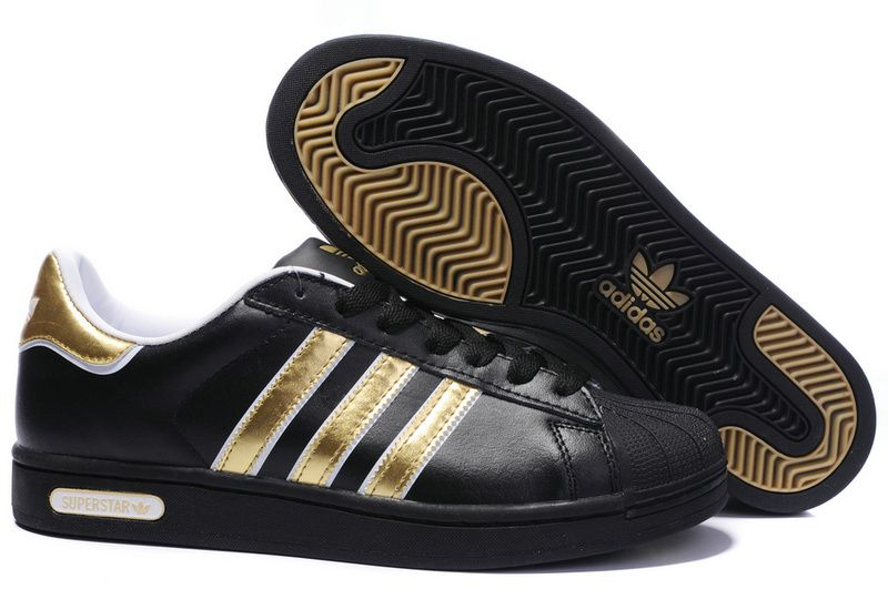 Black and Gold Adidas Superstars Sneakers
