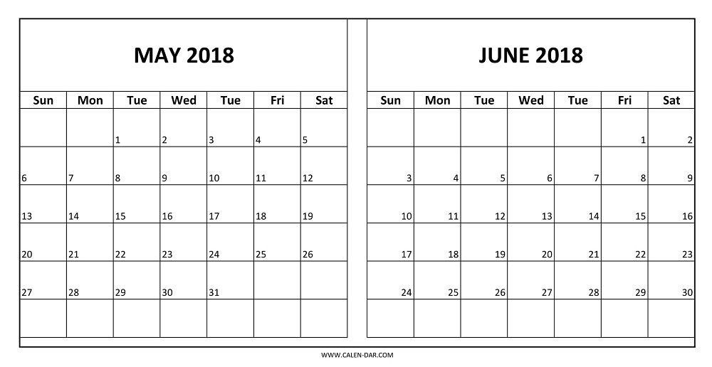 Calendar for May June 2018 Printable   templatedocsnet/budget
