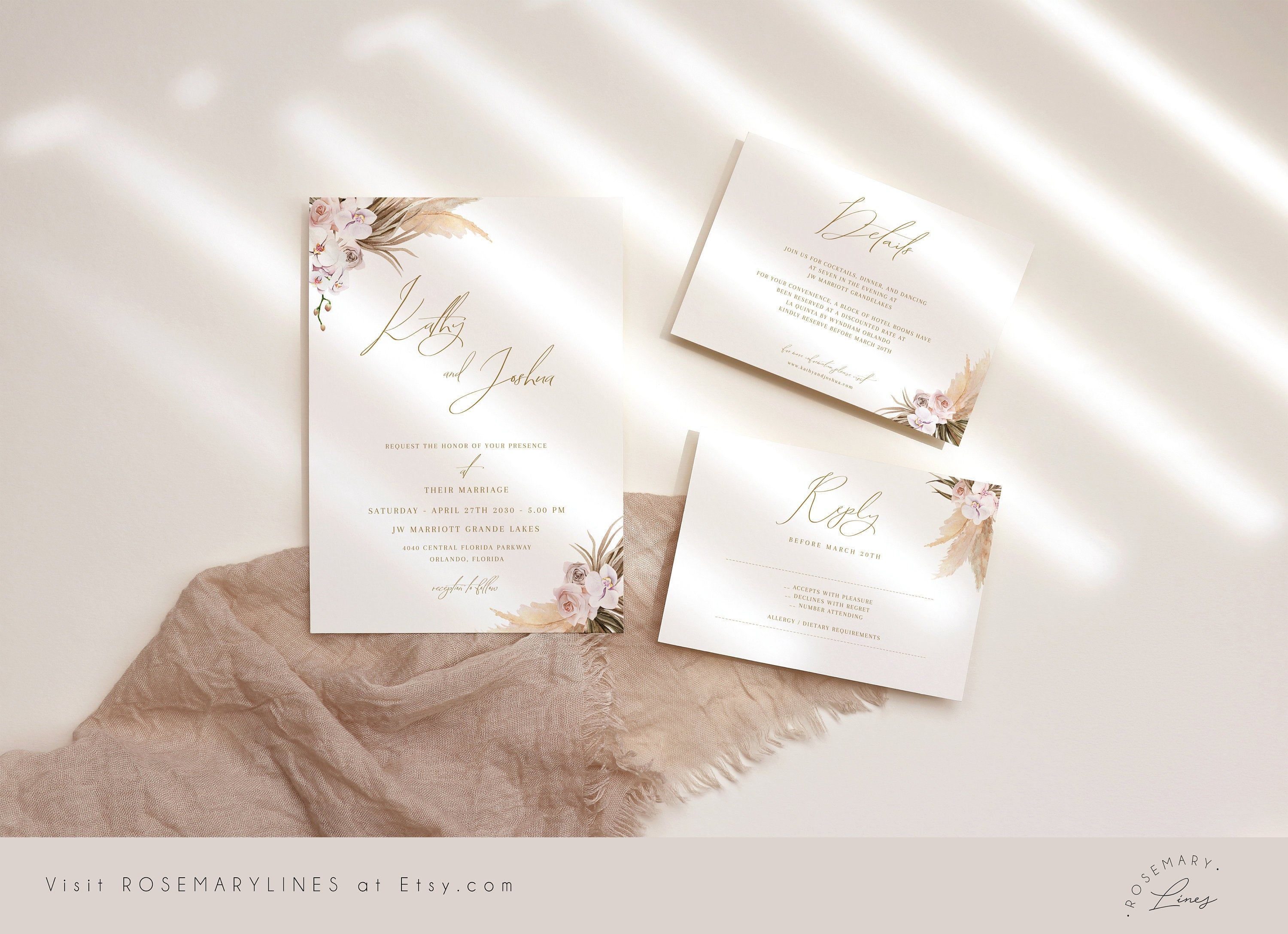 Corjl Ana Editable Printable File Wedding Invitations Instant Download Gold Floral Suite