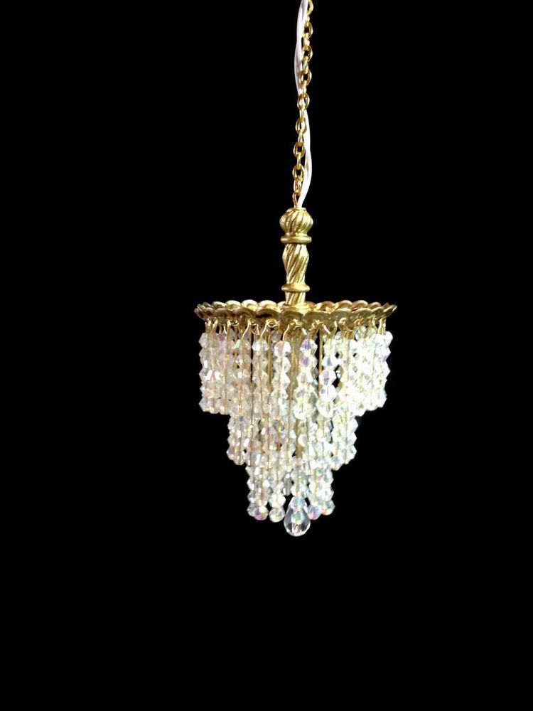 Dollhouse miniature handcrafted crystal chandelier 112 12v