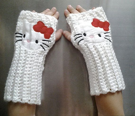 02e66c8c9 Kids HELLO KITTY Arm warmers / Fingerless gloves / wrist warmers ...