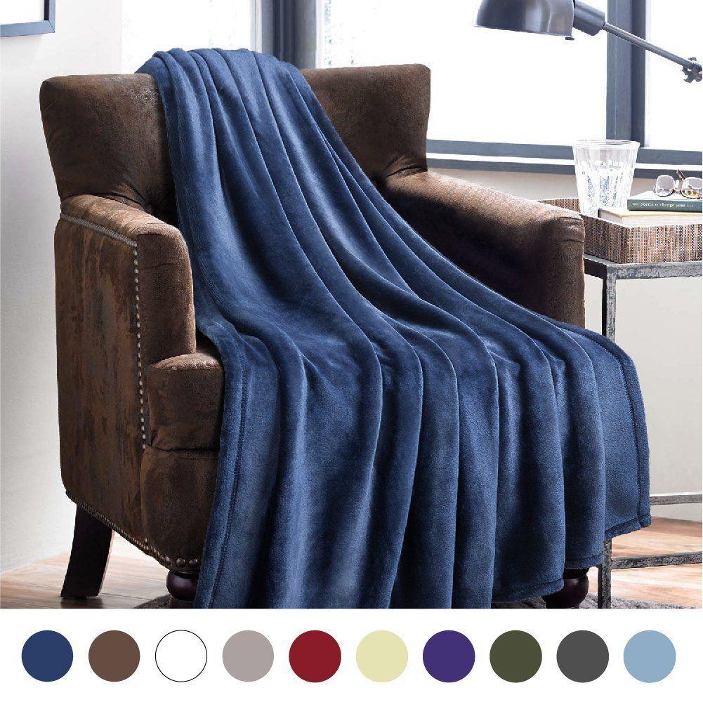 Flannel fleece blanket  Flannel Fleece Throw Blankets Navy Blue  Super Soft Fluffy Warm